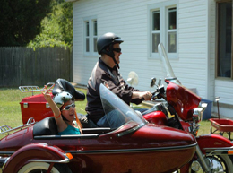 Abi in motorcycle side car.