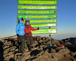 Cindy and Jill at the top of Mount Kilimanjaro.
