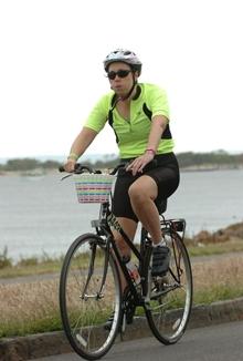 Sarah cycling.