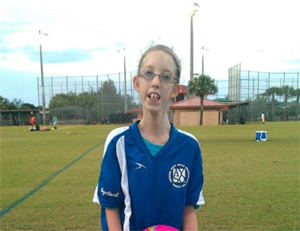 Sophia's first day of soccer practice.