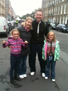 Wayne with wife Lisa and daughters Alayna and Emma.