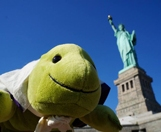 Myo at the Statue of Liberty.