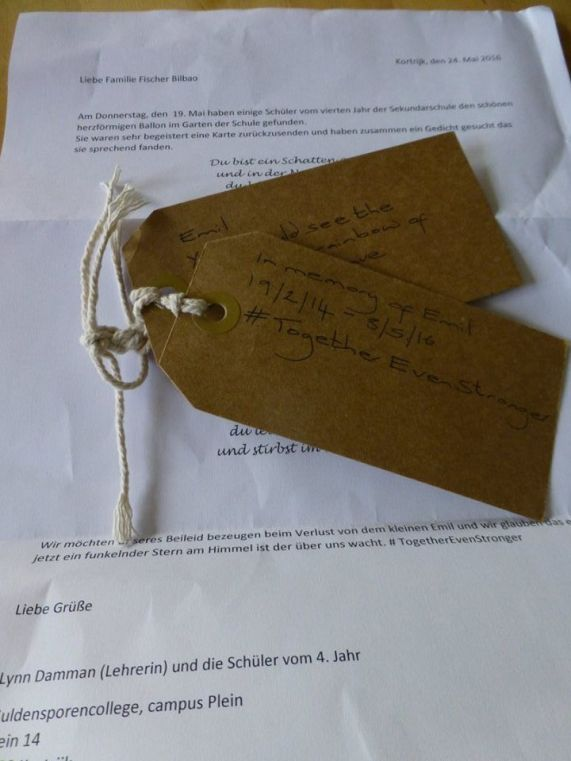 Letter and balloon tags received from school in Belguim.