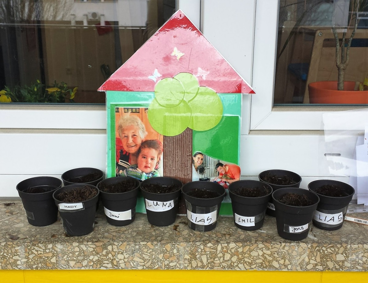 Planting seeds at Emil's school.