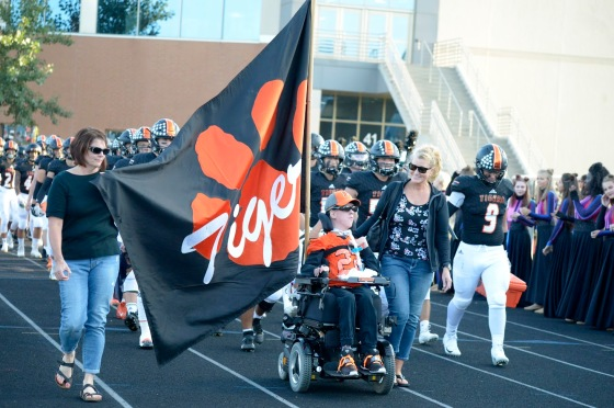 Andy carrying the flag.