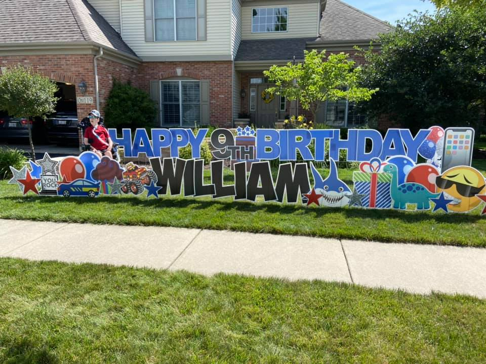 Happy ninth birthday William sign.